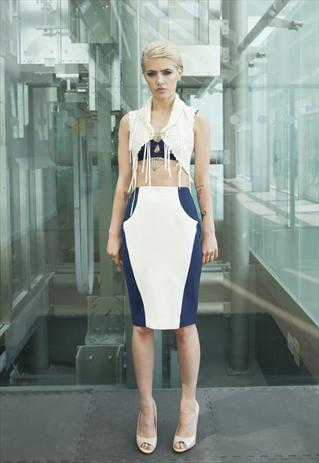 Panelled Cream & Navy Pencil Skirt | Yan Neo London Boutique | ASOS Marketplace