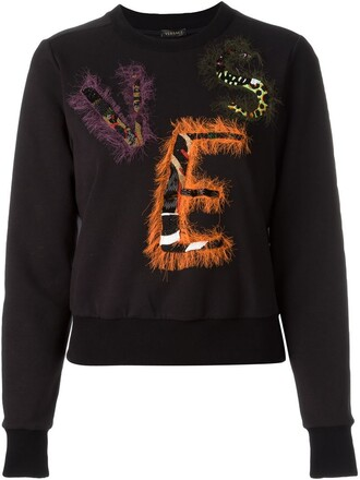 sweatshirt beaded black sweater