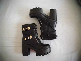 shoes black shoes heels combat boots