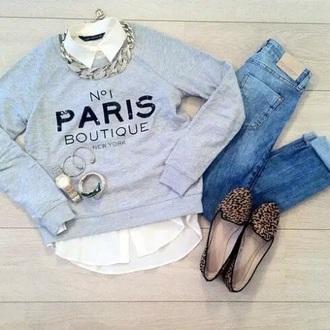 sweater paris jeans leopard print
