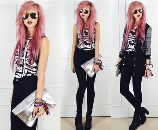 jeans high waisted jeans black beautiful girl grunge pink hair black jeans skinny style cute dark high heels tank top shoes