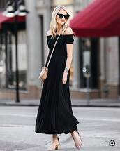 dress,tumblr,maxi dress,black dress,sandals,nude sandals,mid heel sandals,sunglasses,off the shoulder,off the shoulder dress,bag,nude bag,crossbody bag,shoes