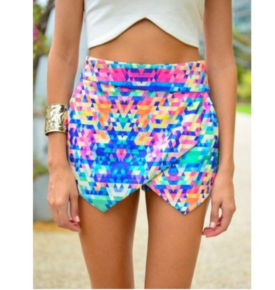 multicolor skirt multi colored bright bright colored skort shorts help? important need it please