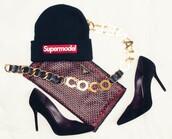 hat,alex and chloe,supreme,supermodel,you better work,twerk,chanel,prada,louboutin,belt