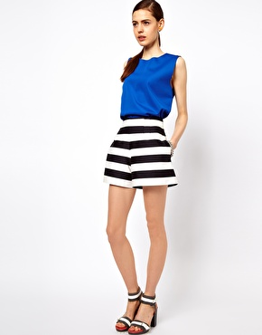 ASOS High Waisted Shorts In Bold Stripe at ASOS