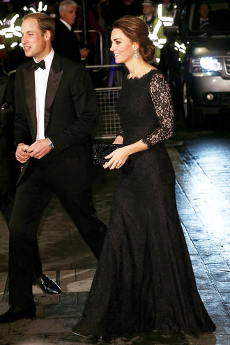 dress kate middleton prom dress black gown lace dress