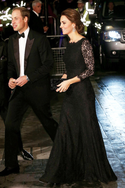 dress, kate middleton, gown, prom dress, black, lace dress - Wheretoget
