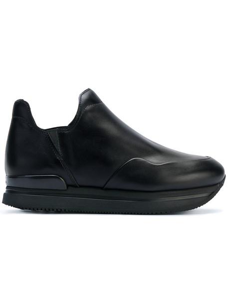 Hogan women sneakers leather black shoes
