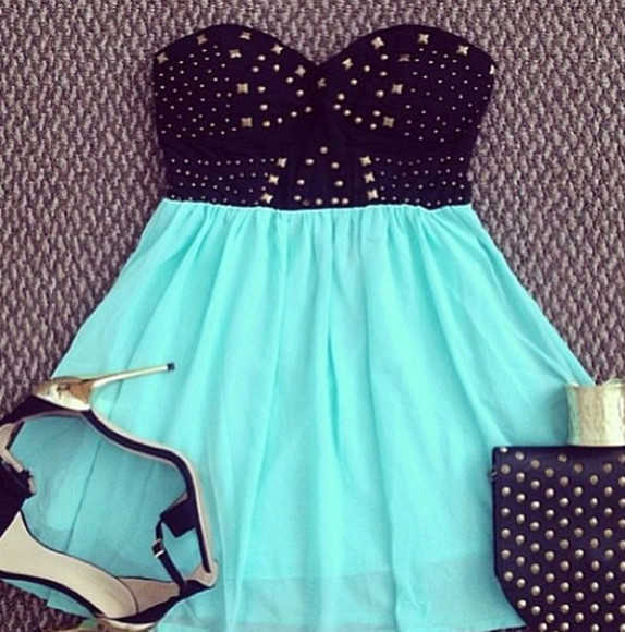 dress studded dress strapless dress turquoise dress