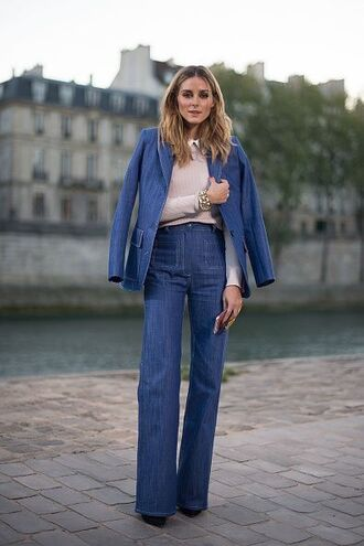 jacket denim jacket denim jeans flare jeans olivia palermo blogger fall outfits streetstyle paris fashion week 2016 blazer