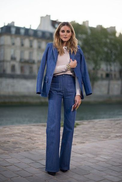 0101d5455d jacket denim jacket denim jeans flare jeans olivia palermo blogger fall  outfits streetstyle paris fashion week