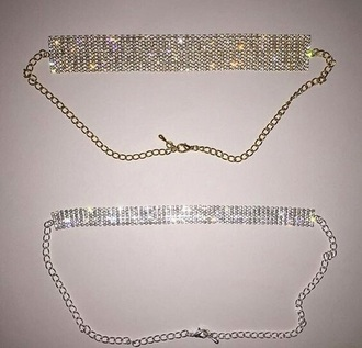 jewels silver gold diamonds necklace choker necklace