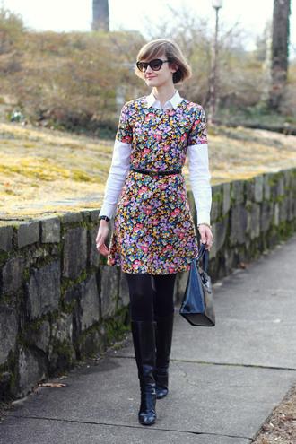 district of chic blogger sunglasses belt floral dress belted dress dress blouse coat jewels shoes bag