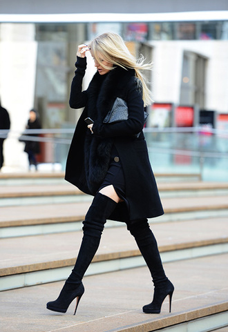 shoes black boots thigh-high boots boots winter outfits black coat long coat winter coat
