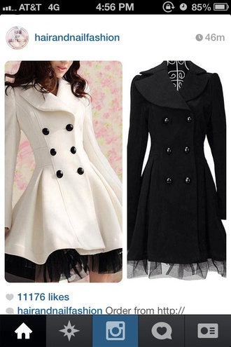 coat black white pea coat buttons fashion instagram winter outfits long ruffle lace form fitting beautiful long oat snow cute dress dressy fancy lace dress winter fashion girl girly