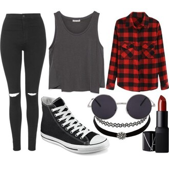 shirt black clothes converse fashion girl hipster jeans love outfit red street top shoes