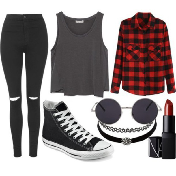 2b04e82299ac shirt black clothes clothes converse fashion girl girl hipster jeans love  outfit red street top shoes