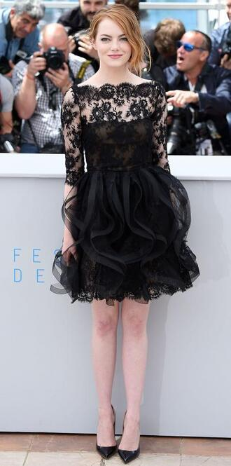 dress lace dress black dress pumps emma stone cannes