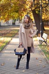 a piece of anna,blogger,coat,dress,shoes,bag