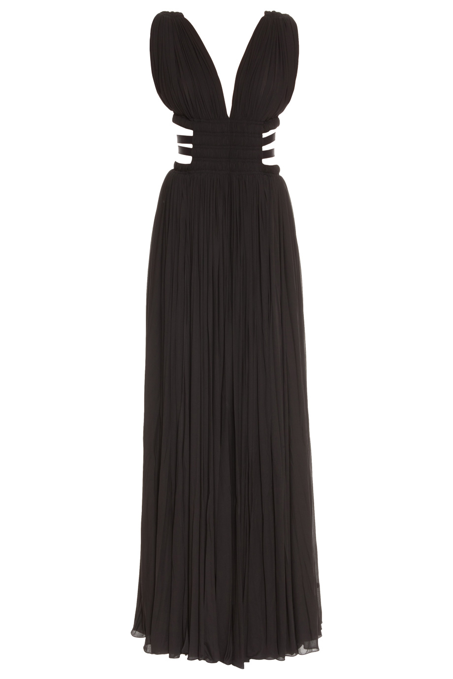 Black cutout side strappy gown