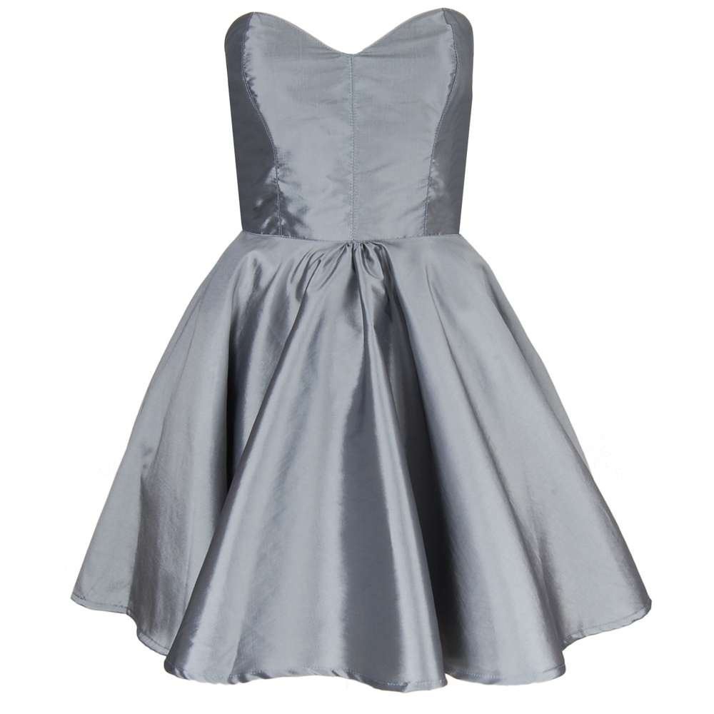 Silver Taffeta Party Dress | Style Icon`s Closet
