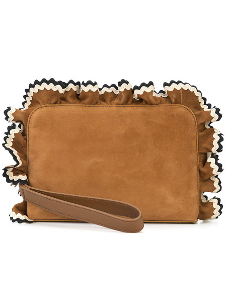 Loeffler Randall ruffle women purse leather suede brown bag