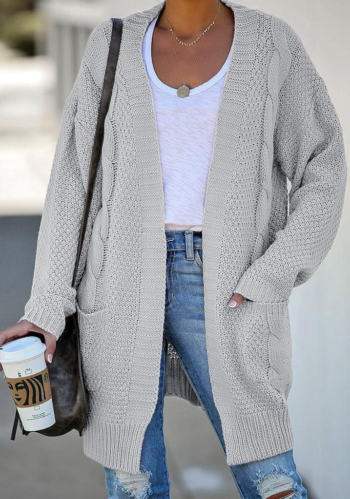 Grey Open-Front Oversized Cable Knit Cardigan