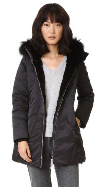 Add Down Down Parka With Fur - Black