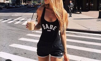 shirt bodysuit black babe