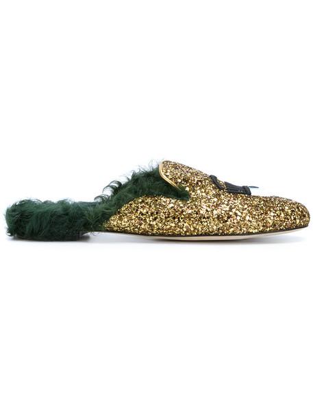 Chiara Ferragni fur women slippers leather grey metallic shoes
