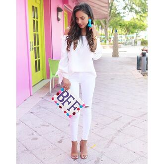bag bff bff bag bff clutch bff purse sequins sequin bag sequin clutch sequin purse white blue purple pom pom pom poms blogger top blogger lifestyle summer summer bag summer clutch summer purse white top top shirt blouse three-quarter sleeves off the shoulder cute summer outfits