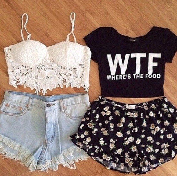 top crop tops summer outfits hipster beach clothes boho girly cute style floral jewels floral shorts food