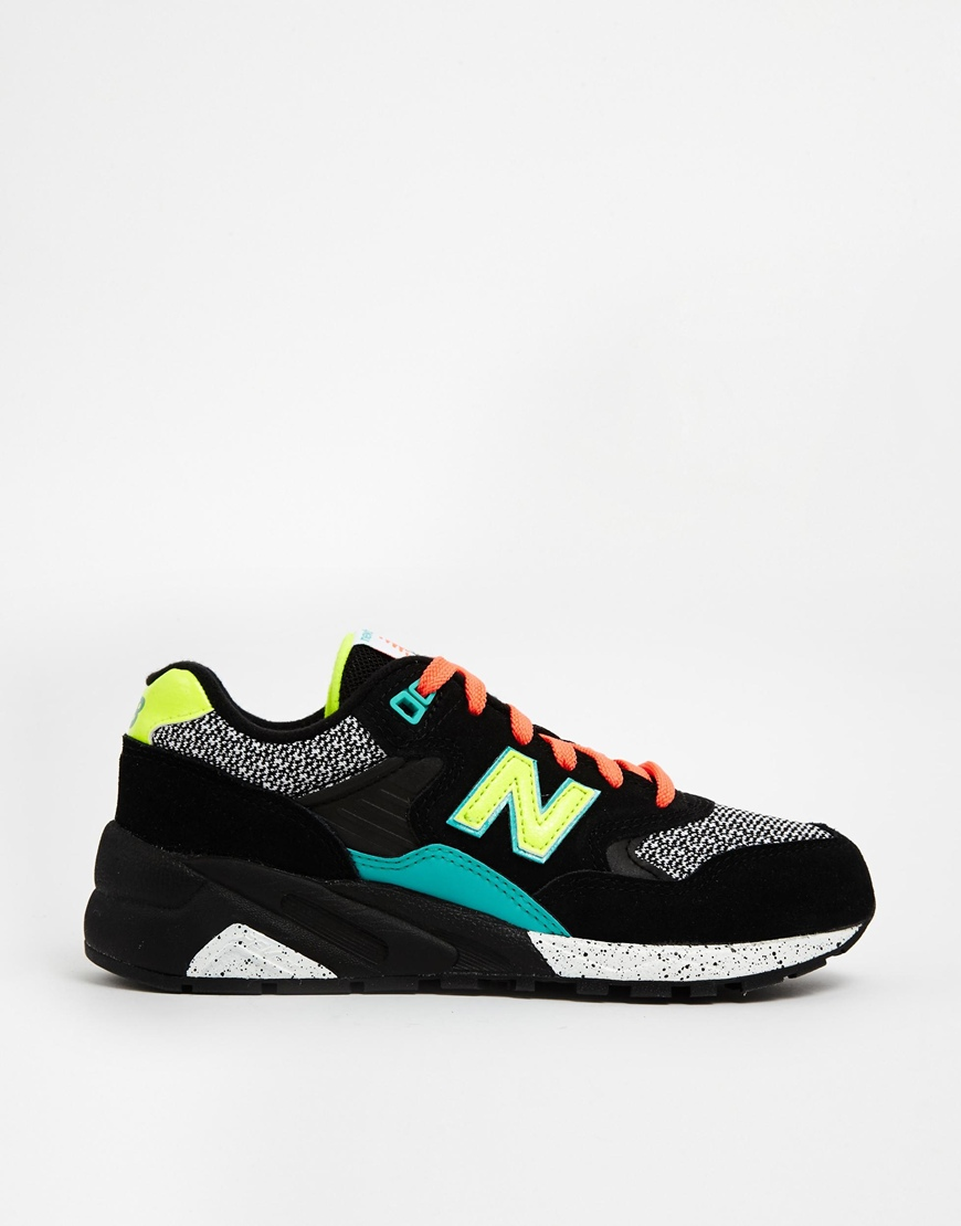 New Balance 580 Suede/Mesh Black Mix Trainers at asos.com