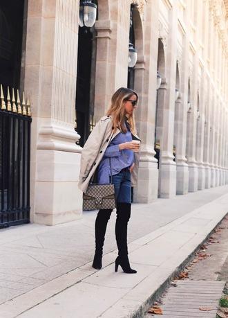 caroline louis pardonmyobsession blogger coat shoes bag thigh high boots gucci bag blue shirt trench coat black boots