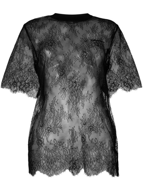 t-shirt shirt t-shirt women spandex lace cotton black top