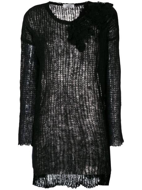 Valentino jumper women spandex floral black wool sweater