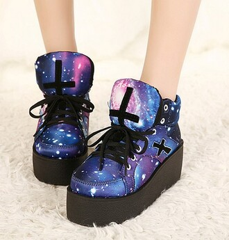 shoes creepers basket galaxy print cross harajuku