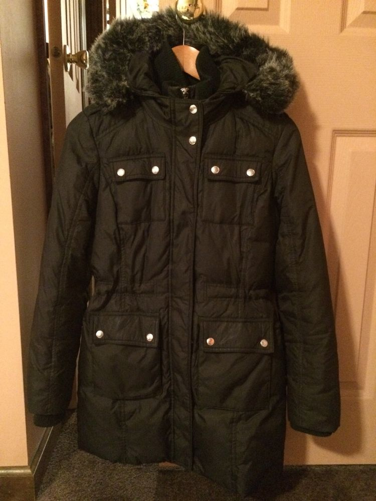 81efc2de2c2c6 Michael Kors Down Puffer Coat With Faux Fur Trim Hood XS Black