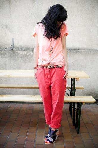 red pants punk colorblock pink pants