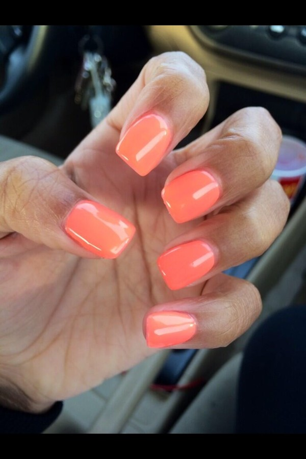nail polish nails nail polish orange peach girly