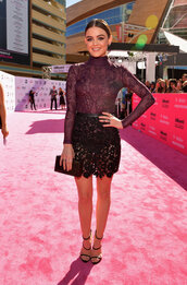 bodysuit,lucy hale,billboard music awards,sandals,lace dress,lace,shoes,clutch,bag