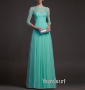 dress,prom dress,prom dress with sleeves,mint,turquoise,mint dress,turquoise dress,lace,lace dress,floor length dress,chiffon,chiffon dress,three-quarter sleeves,a line dress,girl,lace prom dress,evening dress,long sleeve dress,long sleeves,nail accessories,prom,blue dress