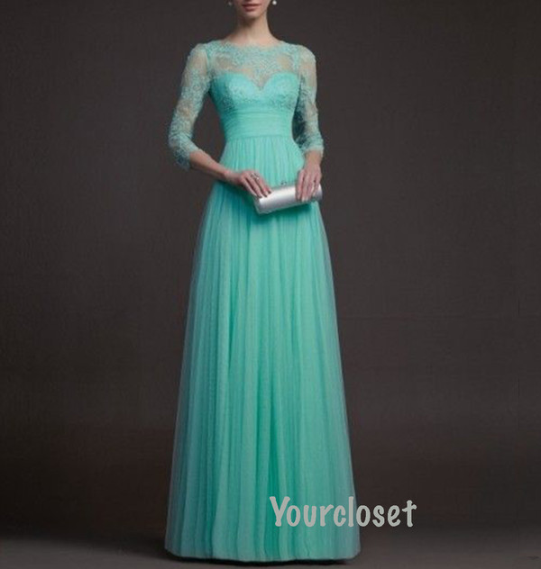 dress prom dress prom dress with sleeves mint turquoise mint dress turquoise dress lace lace dress floor length dress chiffon chiffon dress three-quarter sleeves a line dress girl lace prom dress evening dress long sleeve dress long sleeves nail accessories prom blue dress