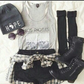 top outfit fashion style los angeles hat shoes shirt sunglasses