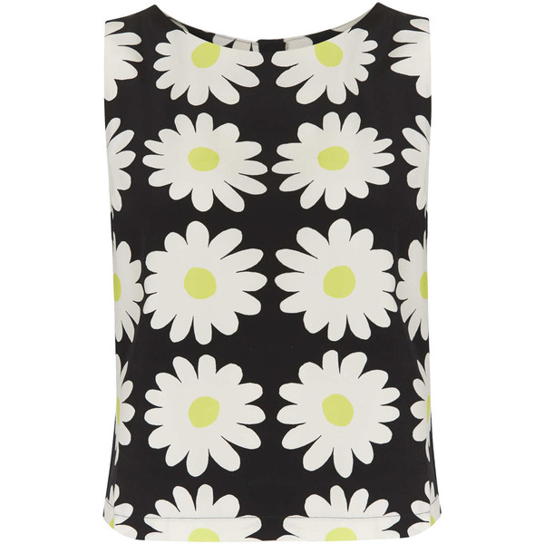 Topshop sleeveless daisy print shell top