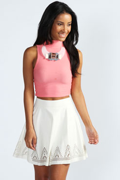 Marlee Laser Cut PU Skater Skirt at boohoo.com
