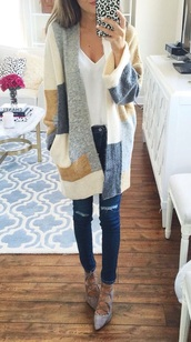 sweater,colorblock,cardigan,fall outfits,oversized cardigan,cute,cute outfits,long cardigan,pinterest,pinterest outfit,long sleeves,knitted sweater,patch blue and brown cardigan,coat,colorblock sweater,blue,ivory,brown,clothes,jacket,blue white beige sweater cardigann,gray tan cream color