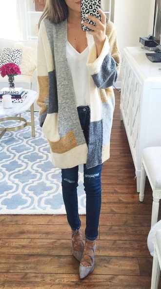 sweater colorblock cardigan fall outfits oversized cardigan cute cute outfits long cardigan pinterest pinterest outfit long sleeves knitted sweater patch blue and brown cardigan jacket blue white beige sweater cardigann coat gray tan cream color