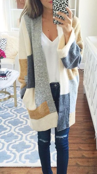 sweater colorblock cardigan fall outfits oversized cardigan cute fall outfits cute outfits long cardigan pinterest pinterest outfit long sleeves knitted sweater patch blue and brown cardigan coat colorblock sweater blue ivory brown clothes jacket blue white beige sweater cardigann gray tan cream color