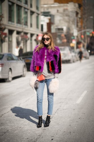 the blonde salad blogger shoes jeans sweater coat bag sunglasses